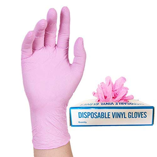Nitrile Exam Powder, Free Gloves, Disposable Food Grade Pink Gloves, Latex - Free, Non Sterile, Convenient Dispenser Pack of 100, Small