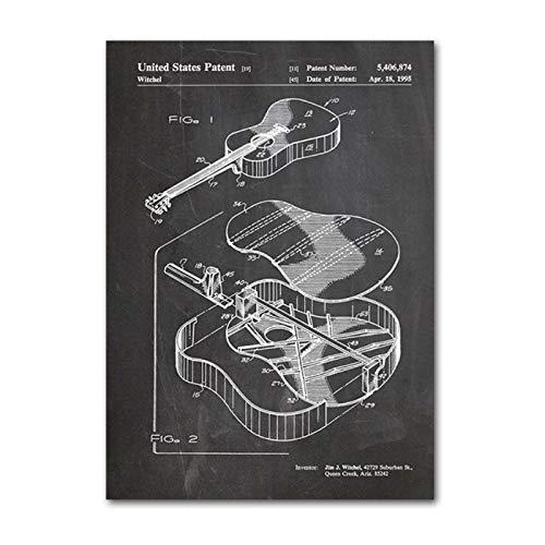 Martin gitaar abstract canvas schilderij akoestische gitaar patent vintage posters art prints blauwdruk muziek kamer decor-50x70cm geen frame