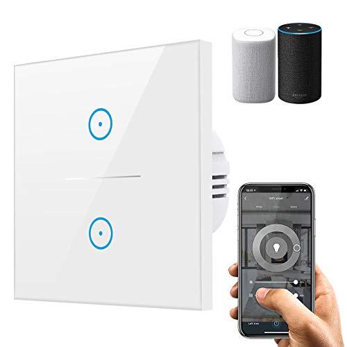 Smart Alexa Lichtschalter, Wifi Lichtschalter arbeitet mit Amazon Alexa,Google Home,Fernsteuerung Ihrer Geräte von überallre,gehärtetes Glas Touchscreen-schalter mit Überlastungsschutz (N Wire Needed)