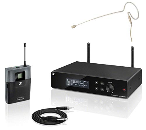 Sennheiser XSW 2-CI1 Instrumental complete set (all-in-one draadloos systeem met True-Diversity-ontvanger, externe antenne en afstelbare UHF-frequenties, in set incl. headset in beige met oorbeugel)