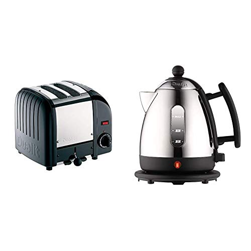 Dualit Classic 2 Slice Vario Toaster, Black & Lite Kettle | 1 L 2 kW Jug Kettle | Polished with Black Trim, High Gloss Finish | Fast Boiling Kettle by Dualit | 72200