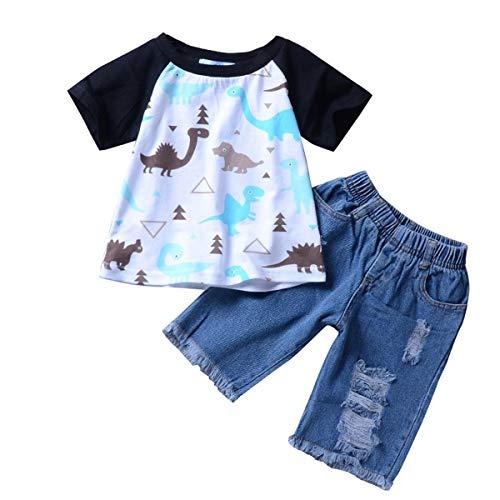HaiQianXin kinderkostuum voor jongens, dinour, bedrukt, grijs, mouw/zwart, T-shirt + jeans met gat (kleur: Black Sleeve, Jeans, maat: 5 – 6T)