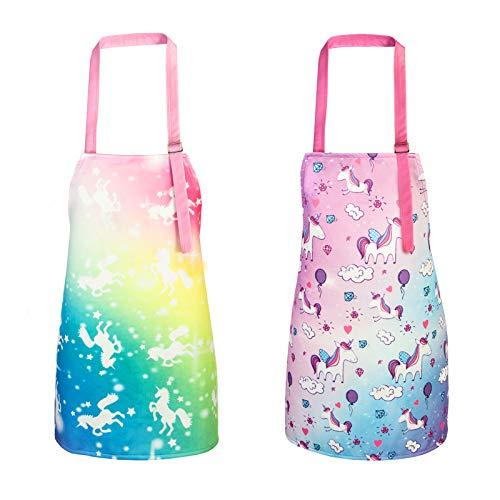 Bassion Pack of 2 Kids Apron, Rainbow Unicorn Kids Cooking Aprons, Adjustable Kids Aprons for Girls Gifts (Unicorn,Medium,6-12Years), Multicolor Yellow
