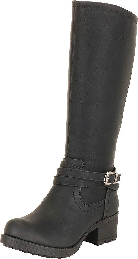 Cambridge Select Women's Strappy Moto Lug Sole Chunky Platform Block Low Heel Mid-Calf Boot