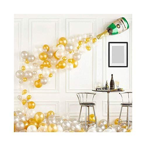 TINGYU Urlaub Partei Ballons Set DIY Silber Weißgold Girlande Anzug Latexballons 91 Luftballons Gewölbt Kranz Leim Abgabekette