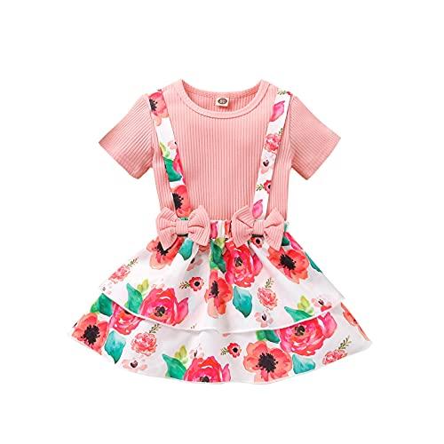 Shaohan Conjunto de ropa de bebé para niña, conjunto de ropa para bebé, pelele + falda con tirantes y volantes, suave conjunto de dos piezas para niños Rosa. 5 años