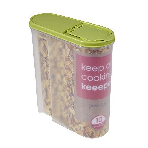 Schüttdose für Trockenvorräte, Aufklappbarer Deckel, BPA-freier Kunststoff, 2,6 l, 21,5 x 9,5 x 24 cm, Jean, Grün