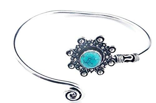 mantraroma Armreif Armband versilbert silbern Türkis blau grün (922-05-023-15)