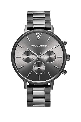 Paul Valentine Damenuhr - Multifunctional Graphite Link - 38 mm Armbanduhr für Damen, Uhr mit grauem Ziffernblatt & Metall-Armband, kratzfestes Glas