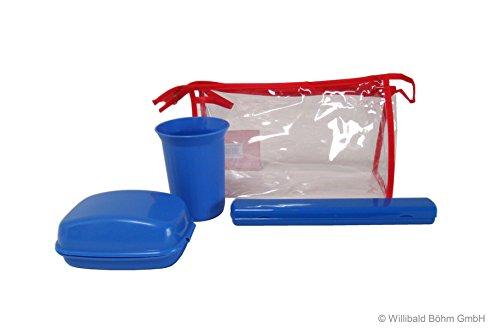 Reisebeutel, bestehend aus: Seifendose, groß, mit Scharnier, Trinkbecher, 0,25 l, Zahnbürstenköcher und Damenkamm in einer Reißverschlusstasche, Sonja-PLASTIC, Made in Germany