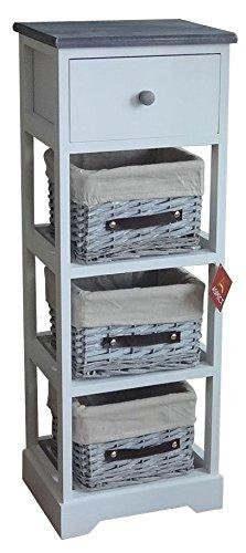 Aspect Unidad de Almacenamiento de cajón de Mimbre Nantes Blanco/Gris Madera, Madera, Blanco, 30x24.5x82.5 cm