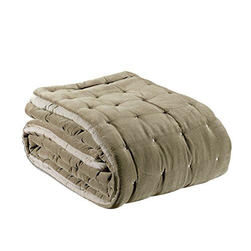 Vivaraise – Chemin de lit Elise – 90x240 cm – Couvre lit 100% Coton – Garnissage Polyester Moelleux – Tissu Doux et Chaud – Couette matelassée réversible - Bicolore Beige/Ficelle