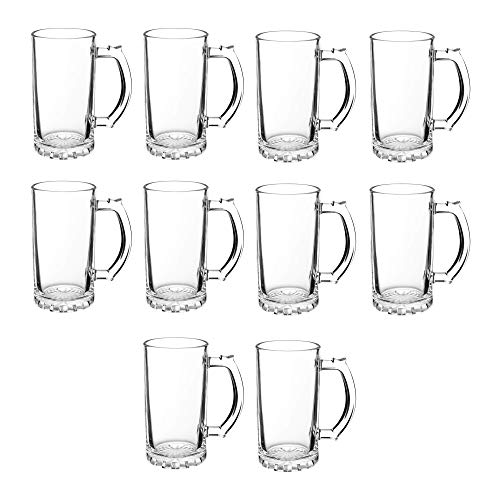 Beer Stein Mugs 16 oz - 10 pack - Beer Pint Glass Mug - Perfect Glasses for Beers, Root Beer Floats - Clear