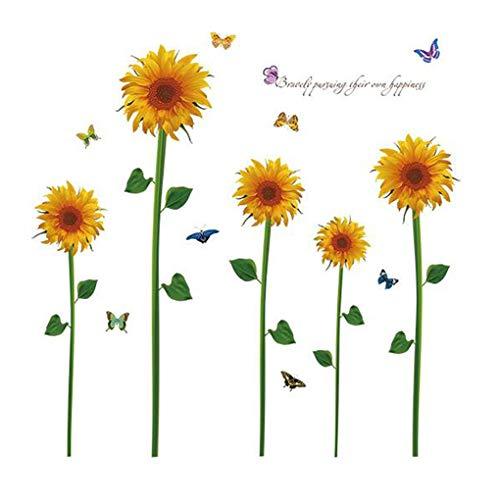 Sunflowers Butterflies Stickers muraux fond d'écran Home Decor bébé garçons filles enfants Chambre Décoration