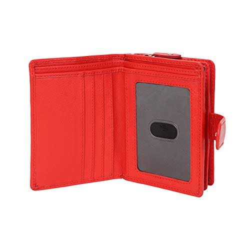 StarHide signore progettista borsa in vera pelle Nappa con tasca laterale con zip moneta & finestra Carta d'identità viene fornito in una confezione regalo # 5525 (Rosso) Red