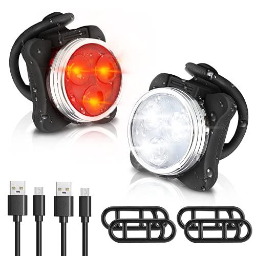 Winnertop Lampe LED de Vélo, Lumière Vélo Rechargeable Avant et Arrière 6 Modes de Luminosité Éclairage USB Antichoc Impermeable, pour VTT VTC Cycliste Poussette Camping