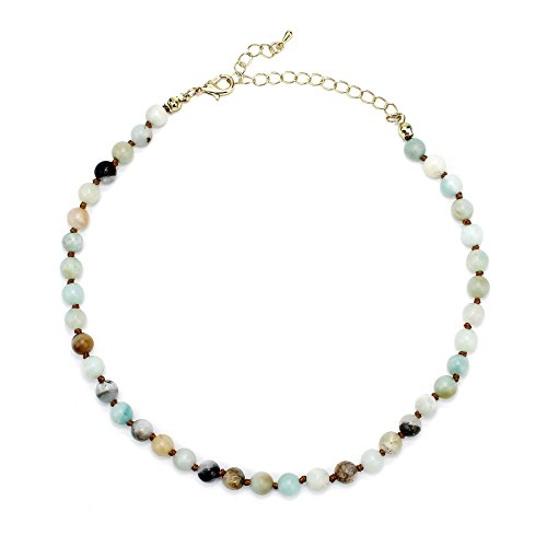 Pomina Semi Precious Stone Beaded Short Choker Necklace for Women, Natural Gemstone Beaded Choker Necklace for Girls Teens (amazonite)