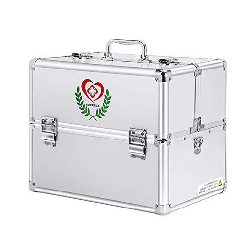 LF- Medizin Box aluminiumlegierung 30 * 21,7 * 24 cm / 36 * 25 * 29 cm Haushalt Medizin Box Medizin ambulant erste Hilfe medizinische Box aufbewahrungsbox speichern (Color : Silver, Size : L36CM)