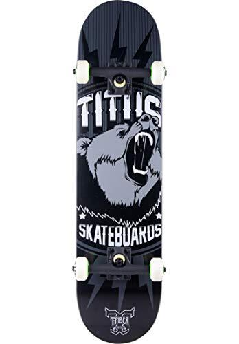 TITUS Skateboards-Complete Grizzly T-Fiber Pro Assembled, Black-Greay, 7.75, Komplett Board, 7 Schichten Ahornholz, Skateboard für Jugendliche, Erwachsene, Anfänger, Profis, Mädchen und Junge, Skate