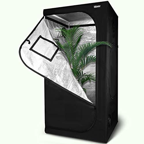 Viewee Tenda da Coltivazione - 100×100×200 cm Grow Box/Grow Tent, Armadio Coltura Interna per Piante Serra, Armadio Grow Idroponico con Oxford 600D e Mylar Premium 95% Riflettività