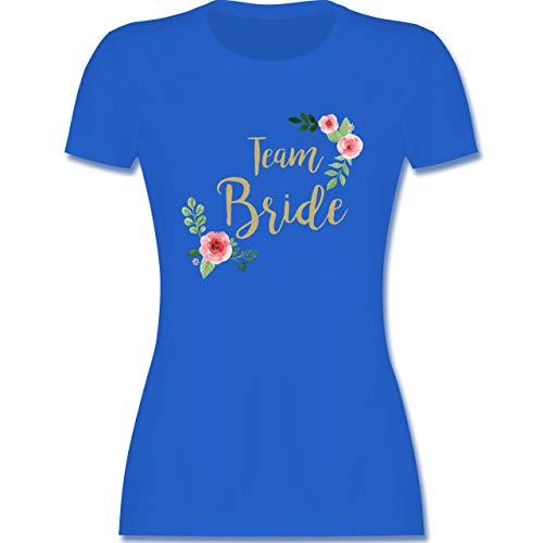JGA Junggesellinnenabschied - Team Bride Blumen Vintage - S - Royalblau - t Shirt kostüm - L191 - Tailliertes Tshirt für Damen und Frauen T-Shirt