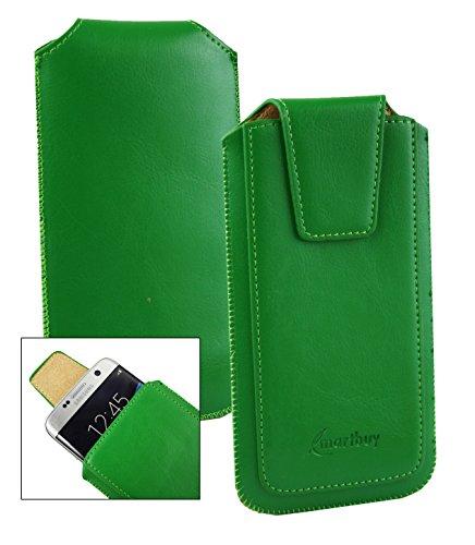 Emartbuy® Sleek Bereich Grün PU Leder Slide in Hülle Tasche Sleeve Halter (Größe LM2) Mit Zuglasche Mechanismus Geeignet Für Slok C3 Dual SIM Smartphone