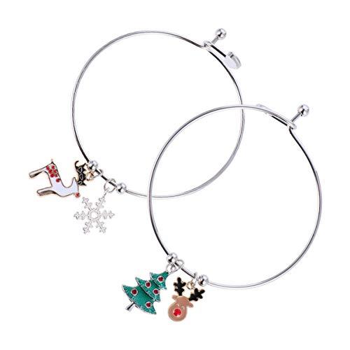 KESYOO 2pcs Christmas Bracelet Santa Reindeer Candy Can Bangle Bracelet Christmas Party Favor Gifts (Colorful 2)