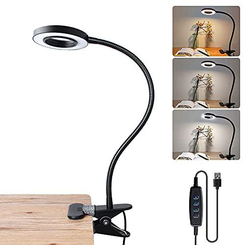 Bonlux 6W USB Lámpara LED con pinza, Clip LED Luz Lampara de Mesa Lectura Escritorio, Protección para Ojos, 10 Nivel de Brillo Ajustable, 3 Colores de Iluminación, Portátil Flexible Regulable (Negro)