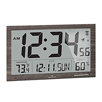 Marathon Slim Jumbo Auto-Set Atomic Digital Wall Clock with Temperature Date Humidity 4 Time Zone Auto DST Self Setting Self Adjusting Batteries Included  Gray Wood Finish