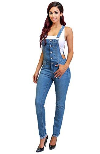 Womens Fashion Trendy Distressed Adjustable Denim Skinny Overalls Jeans LARGE DENIM-90009