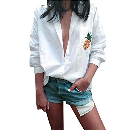 OSYARD Frauen Sexy Übergröße Bluse mit Langarm,Lose Cheer T-Shirt mit Statement-Frontdruck V-Ausschnitt Freizeit Tops mit Tasche,Neu Sommer Herbst Hemd