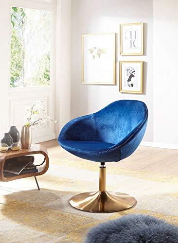 FineBuy Loungesessel SIRAN 70 x 79 x 70 cm Design Drehstuhl Blau | Clubsessel Polsterstuhl mit Armlehne | Drehsessel Cocktailsessel Lounge | Barsessel Besucherstuhl | Sessel mit Stoffbezug - 3