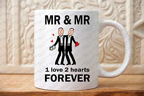 De heer en de heer Bruiloft Gift Ga Bruiloft Gift Zelfde Sex LGBT Gift Gay Paar LGBTQ Twee Grooms Pride Gift T Shirt Koffiemok aanwezig