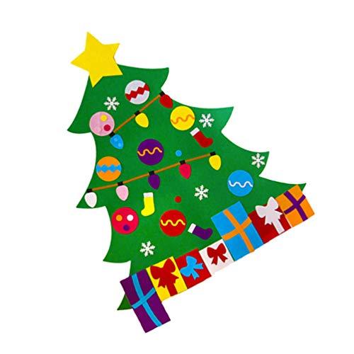 VALICLUD DIY Fieltro Árbol de Navidad Niños Pequeños Juego de Árboles de Navidad Adornos de Navidad Puerta de Casa Colgante de Pared Decoraciones Navideñas Regalo
