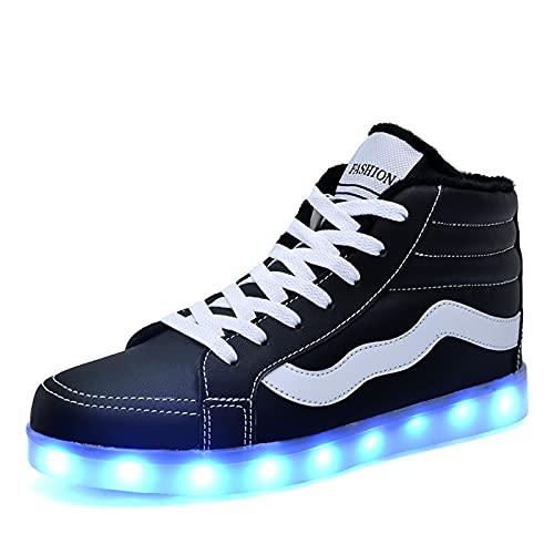 LZCW Zapatillas de Deporte de PU Luminosas para Hombre - Zapatillas de Deporte de caña Alta con LED de Carga USB de 7 Colores Unisex, Zapatos Deportivos de otoño e Invierno
