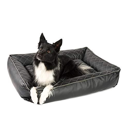 JAMAXX Orthopädisches Hundebett Kunstleder mit Memory Schaumstoff, Wasserabweisend Abwaschbar Hygienisch, Gelenkschonend, Hundekorb Hunde-Körbchen, PDB2010 schwarz (M) 100x80
