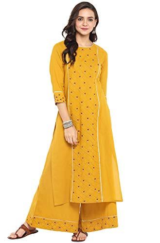 Janasya Indian Tunic Tops Cotton Kurti Set for Women (SET097-KR-PP-L)...