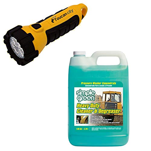 Toucan City LED Flashlight and Simple Green 1 Gal. Heavy-Duty Cleaner and Degreaser Pressure Washer Concentrate (4-Pack) 2310000418203