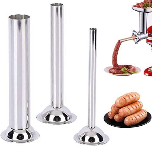 Liebhome Wurstfülltrichter für #10 und #12 Fleischwolf / Wurstfüllmaschine, Flansch: 75mm, Rohrdurchmesser: Ø 12mm/19mm/32mm(aus Edelstahl 3-er Satz)