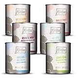 MjAMjAM - Premium Nassfutter für Katzen - Mixpaket 3 - Wild & Kaninchen, Pute, Ente & Geflügel, herzen, Huhn, Rind, 6er Pack (6 x 800 g),...