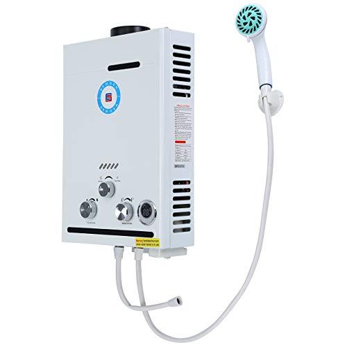 Youwise Calentador de Agua sin Tanque de Gas propano de 8L Caldera instantánea de GLP para el hogar