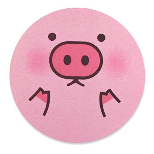Arisase Mouse Pad Cute Pig-Shaped Mat Gaming 8.66-Inch Round Cloth Mousepad with Anti-Skid Rubber Base Smooth Sensitive Surface for Desktop Home Office Gaming Laptop Computer (Pink)