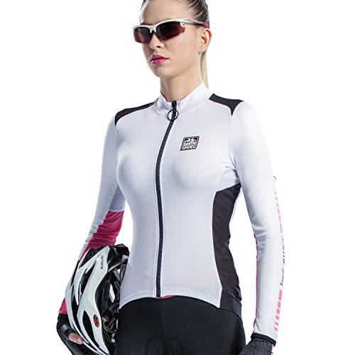 Santic Maillot Ciclismo Mujer Manga Larga Maillot Bicicleta Montaña Camiseta MTB con Bolsillos Fino Blanco EU M