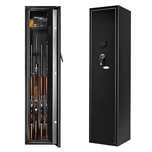 Rifle Safe Large Electronic 4 Gun Safe, INVIE Quick Access Shotgun Security Storage Cabinet with Movable Shelf for Handgun/Ammo
