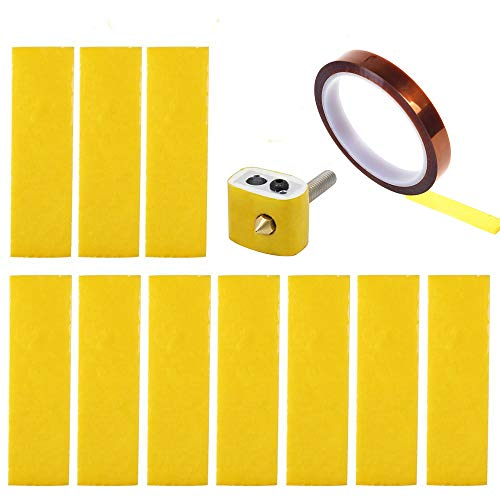 CCTREE 15PCS 3D Printer Heating Block Cotton with Kapton Tape Hotend Nozzle Heat Insulation Cotton for Ultimaker/Makerbot/Creality CR-10