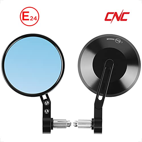 Evermotor Universal E24 CNC Aluminium klappspiegel Lenkerendenspiegel Motorrad Rückspiegel Spiegel Rund Set E-geprüft