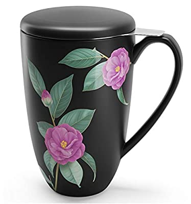 immaculife Tea Cup with Infuser and Lid Ceramic Tea Mug with Lid Teaware with Filter 15oz, Black Floral Print