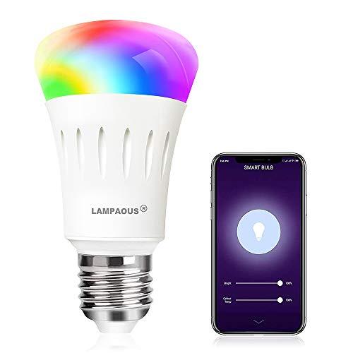 LAMPAOUS E27 Led dimmbar Smart Lampen Glühbirnen 9 Watt WIFI Intelligenz RGBCW Lampen mit 16 Millionen mehreren Farben kompatiable mit Phone,Echo,Alexa,Google Home and IFTTT(Kein Hub) 1er Pack