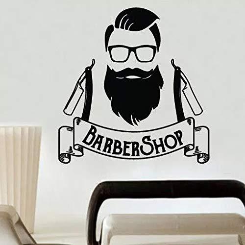 Barber shop logo pegatinas de pared pegatinas de pared de moda para hombres decoración de salón de...