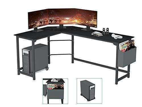SZXKT L Shaped Desk Home Office Corner Desk 67  Computer Table Sturdy Gaming Desk Wooden Table Workstation Reversible Modern Simple Multi-Usage Desk with Storage Bag Space-Saving Writing Desk(Black)